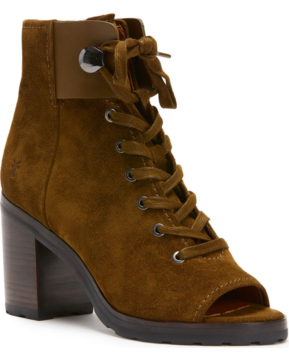 Frye Women's Brown Danica Lug Combat Booties - Round Toe , Dark Green, hi-res