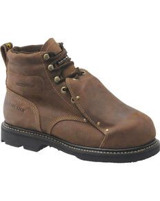 "Carolina Men's 6"" WP Steel Broad Toe MetGuard Work Boots, Brown, hi-res"
