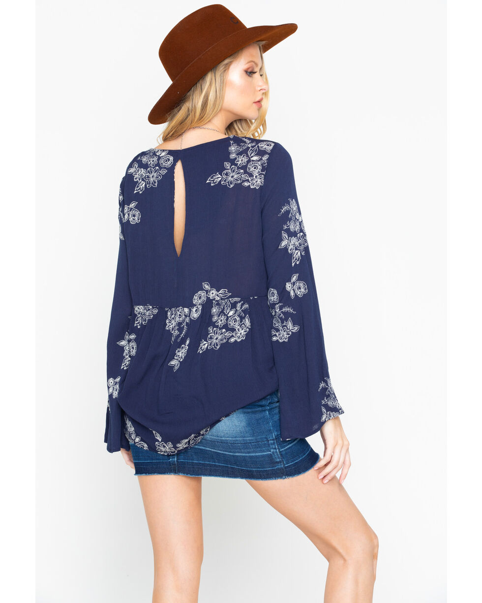 Wrangler Women's Floral Embroidered Bell Sleeve Top, Navy, hi-res