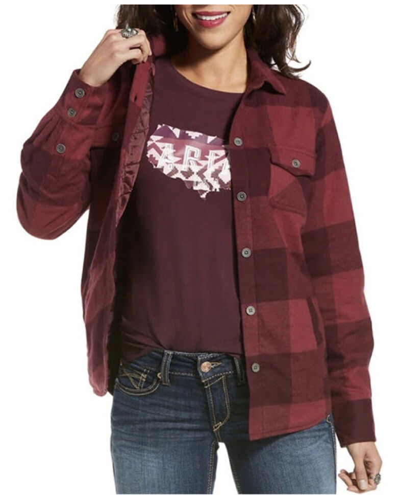 Ariat Women's R.E.A.L. Wineberry Buffalo Shacket Shirt Jacket , Wine, hi-res