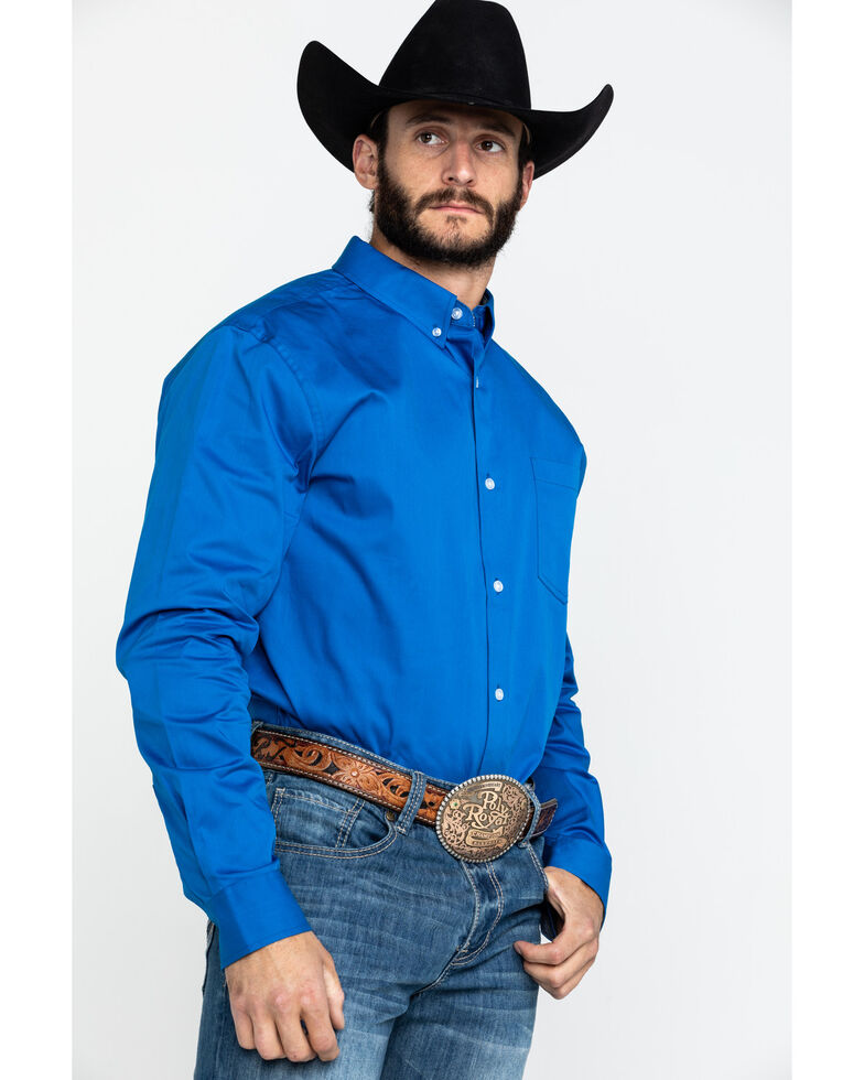 Cody James Core Men's Blue Solid Performance Twill Long Sleeve Western Shirt , Blue, hi-res