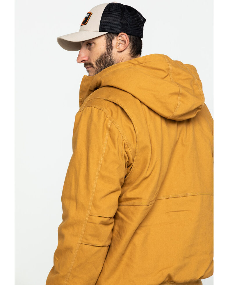 Hawx Men's Brown Canvas Quilted Bi-Swing Hooded Zip Front Jacket - Tall , Brown, hi-res