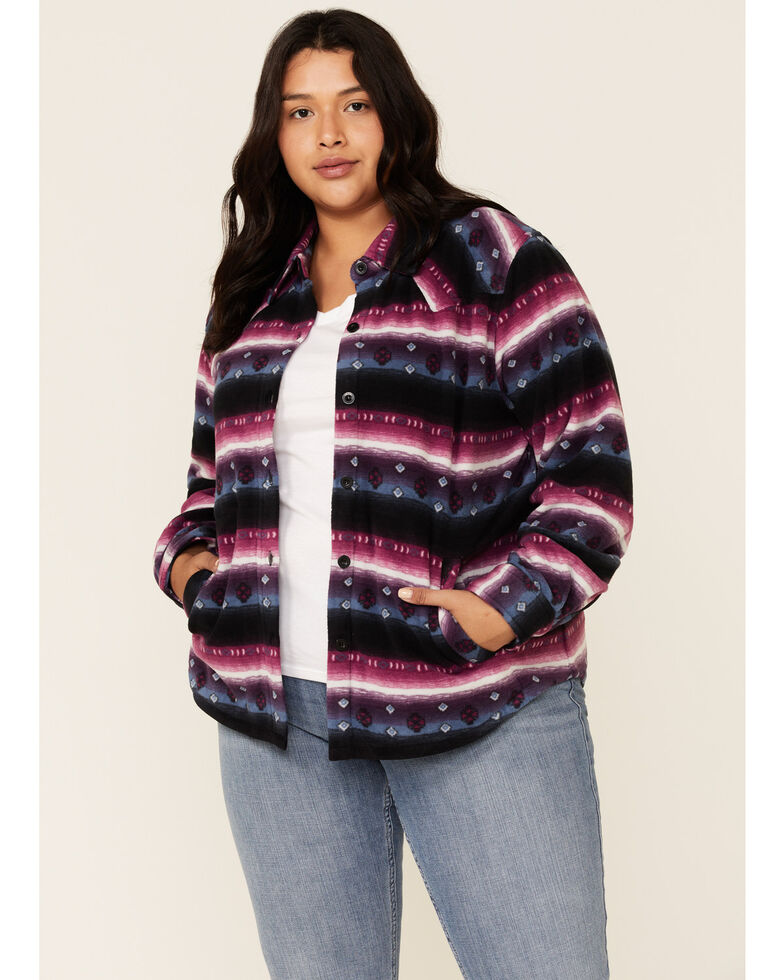 Outback Trading Co. Women's Purple Aztec Karla Long Sleeve Big Shirt - Plus, Purple, hi-res