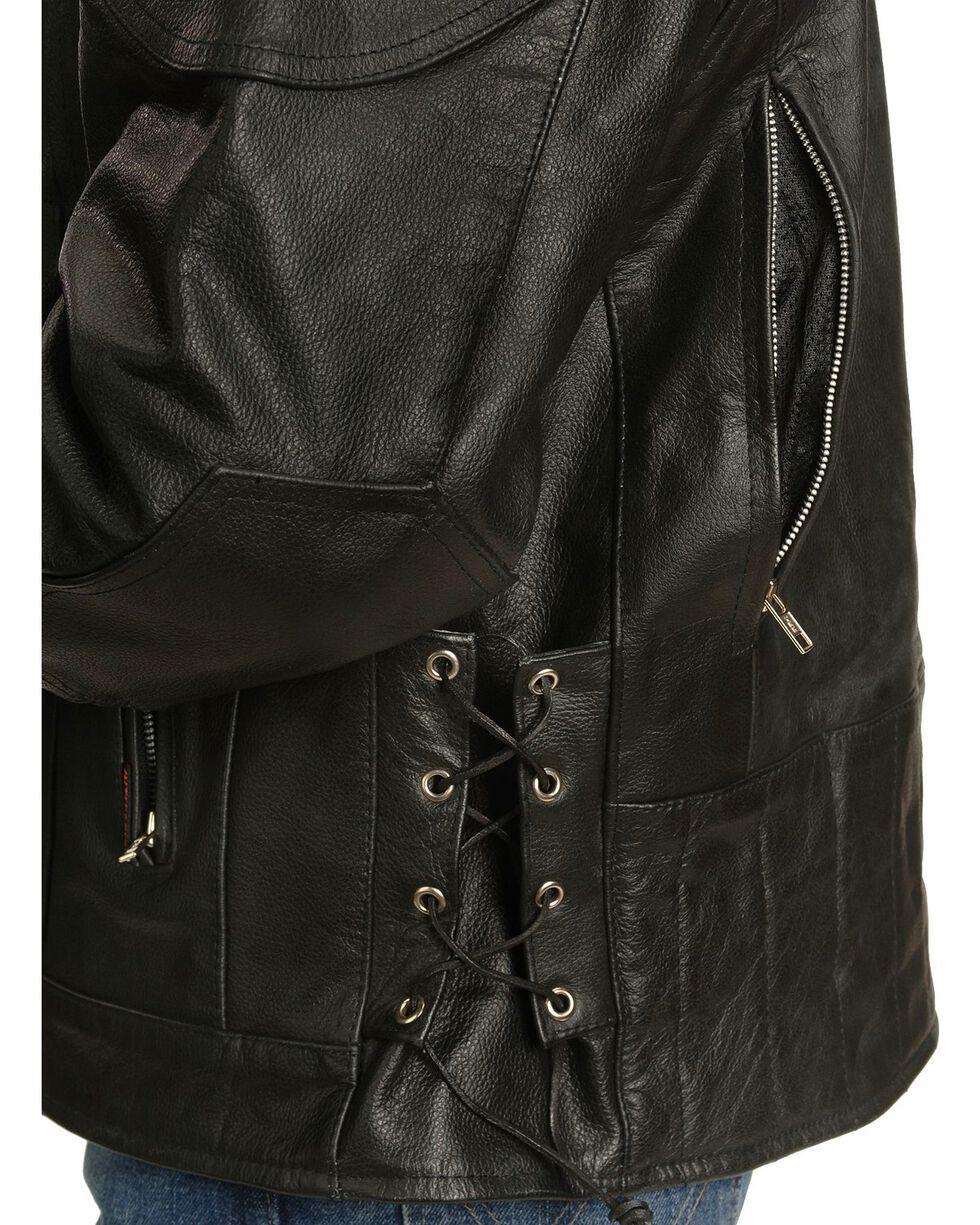 Interstate Leather Men's Jax Motorcycle Leather Jacket, Black, hi-res