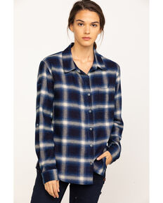 Dovetail Women's Plaid Givens Long Sleeve Work Shirt, Indigo, hi-res