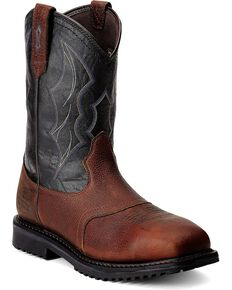 Ariat Men's RigTek Wide Square Toe H2O CT Work Boots, Brown, hi-res