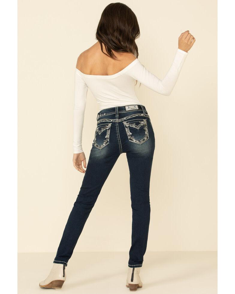 Grace in LA Women's Border Flap Skinny Jeans, Blue, hi-res