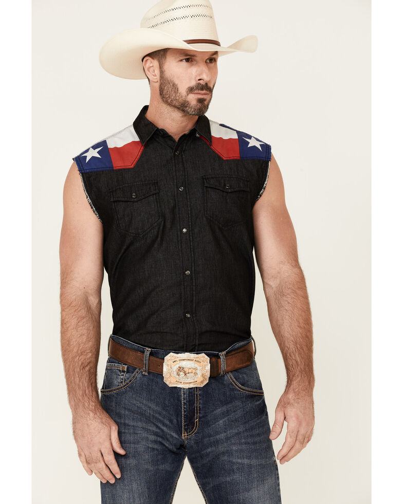 Cody James Men's Texas Flag Bubba Sleeveless Snap Western Shirt , Black, hi-res