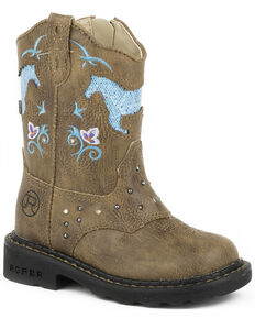 Roper Infant's Horse Flowers Dazzel Lights Western Boots, Tan, hi-res