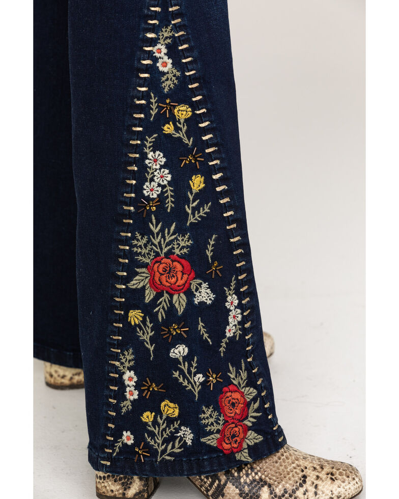 Rock & Roll Cowgirl Women's Dark Floral Embroidered Flare Jeans, Blue, hi-res
