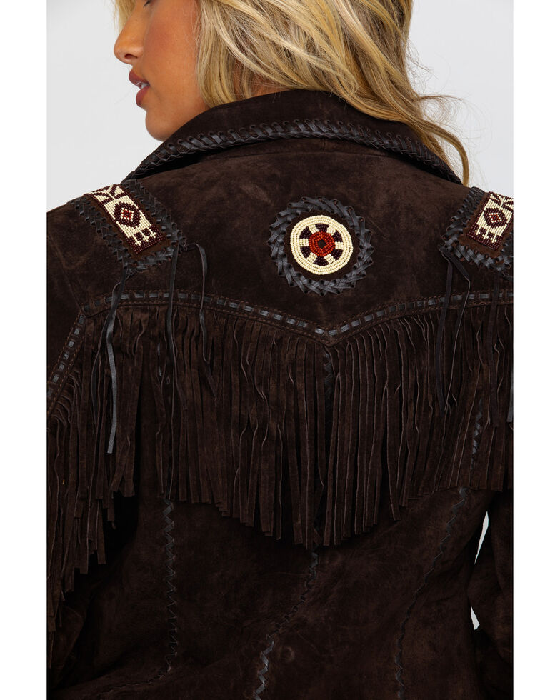 Scully Women's Boar Suede Beaded Fringe Jacket, Brown, hi-res