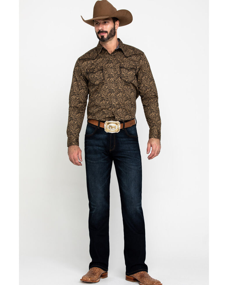 Cody James Men's Lemaire Abstract Floral Print Long Sleeve Western Shirt , Tan, hi-res