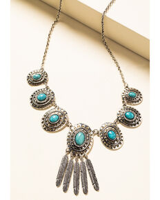 Shyanne Women's In The Oasis Short Concho Fringe Necklace, Silver, hi-res