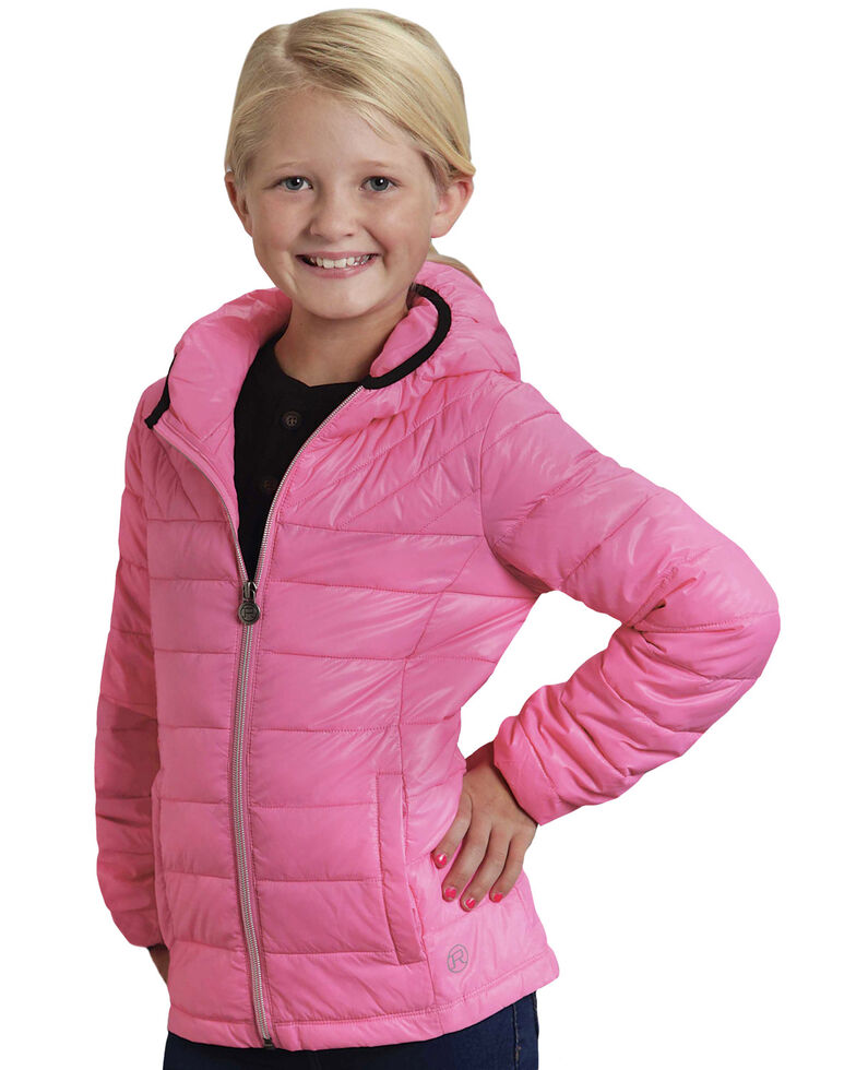 Roper Girls' RangeGear Crushable Hooded Jacket , Pink, hi-res