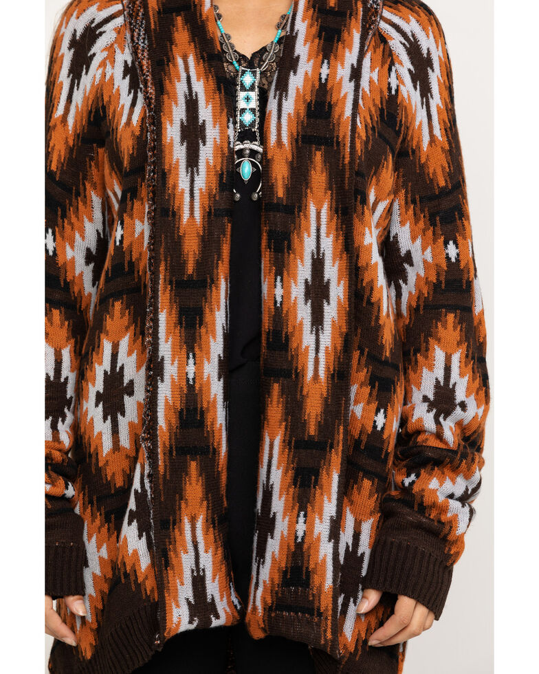 Rock & Roll Denim Women's Rust Aztec Cardigan , Rust Copper, hi-res