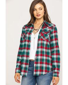 Wrangler Women's Green Plaid Flannel Shirt, Green, hi-res