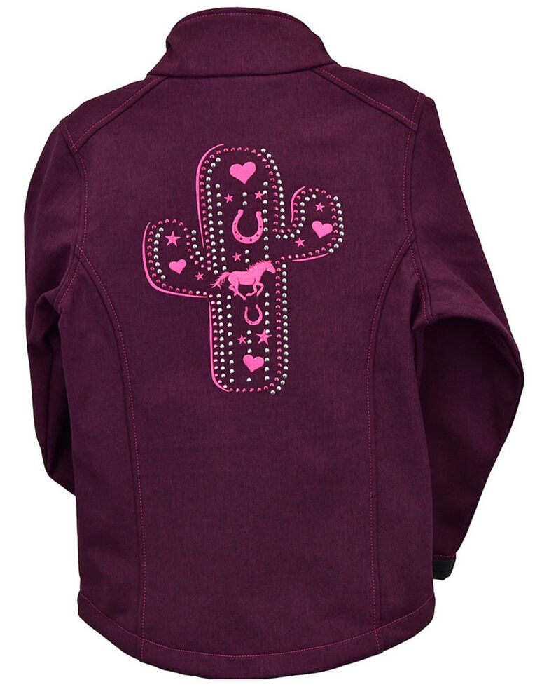 Cowgirl Hardware Girls' Burgundy Cactus Cross & Horse Softshell Jacket , Burgundy, hi-res
