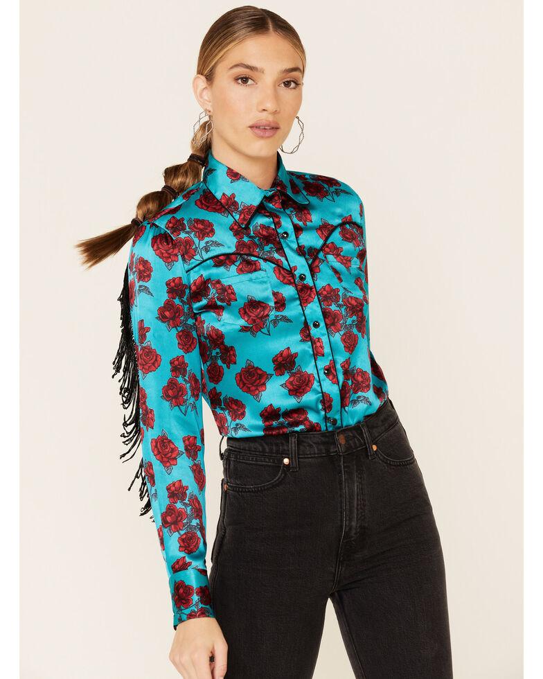 Rock & Roll Denim Women's Turquoise Satin Rose Print Fringe Long Sleeve Western Shirt , Turquoise, hi-res