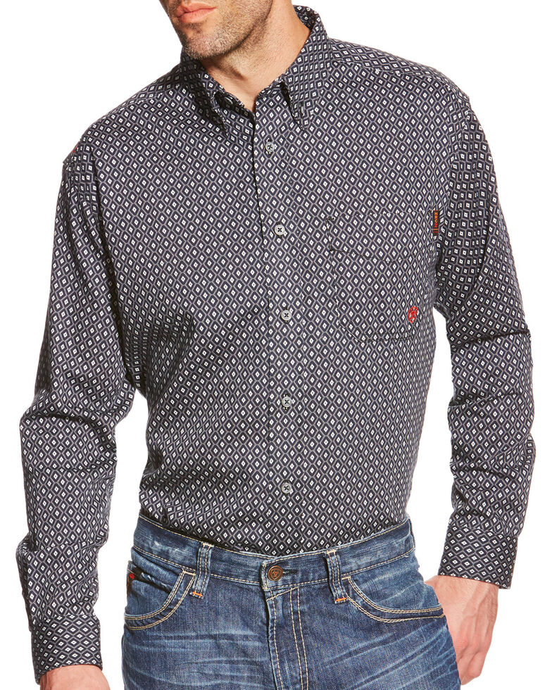 Ariat Men's FR Tyler Foulard Geo Print Long Sleeve Western Shirt , Black, hi-res