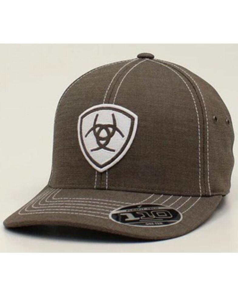 Ariat Men's Grey Shield Patch Solid-Back Flex-Fit Ball Cap , Grey, hi-res