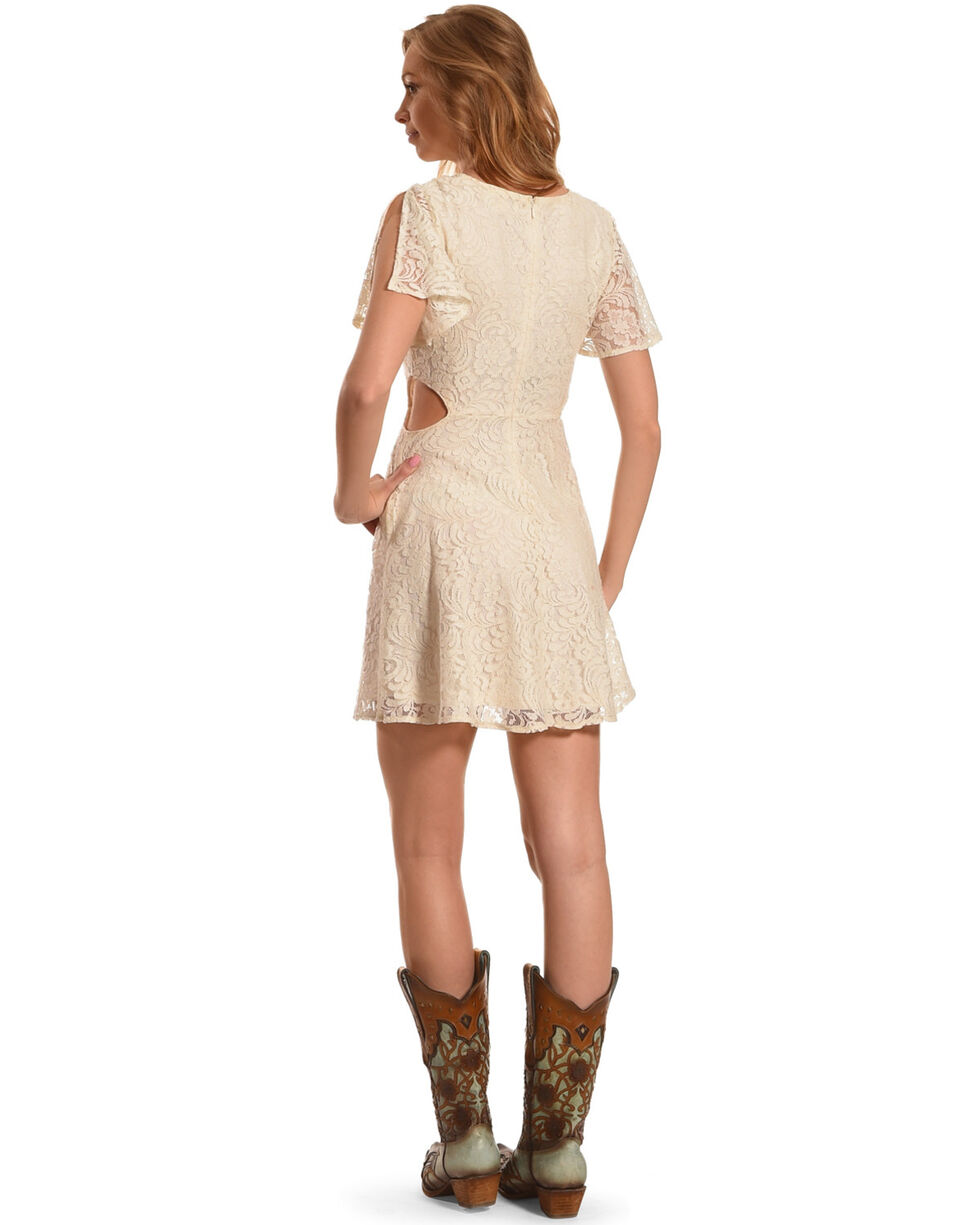 Flying Tomato Women's Lace Cutout Button-Down Dress, Ivory, hi-res