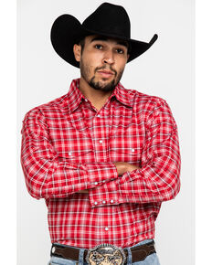 Wrangler Men's Wrinkle Resist Red Plaid Long Sleeve Western Shirt , Red, hi-res
