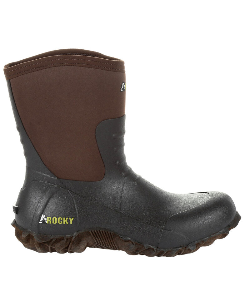 Rocky Men's Core Chore Rubber Outdoor Boots - Round Toe, Dark Brown, hi-res