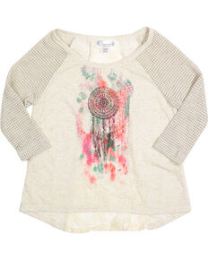 Shyanne® Girl's Aztec Dreamcatcher 3/4 Sleeve Tee, Grey, hi-res