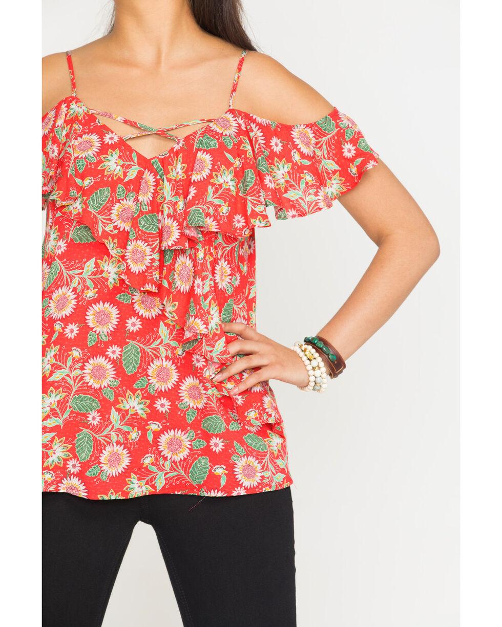 Miss Me Women's Floral Open Shoulder Top, Red, hi-res