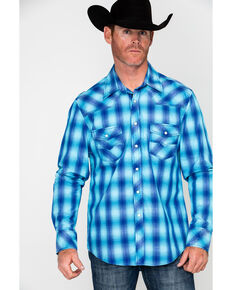 Rock & Roll Cowboy Men's Crinkle Washed Yarn Dye Plaid Long Sleeve Western Shirt , Blue, hi-res