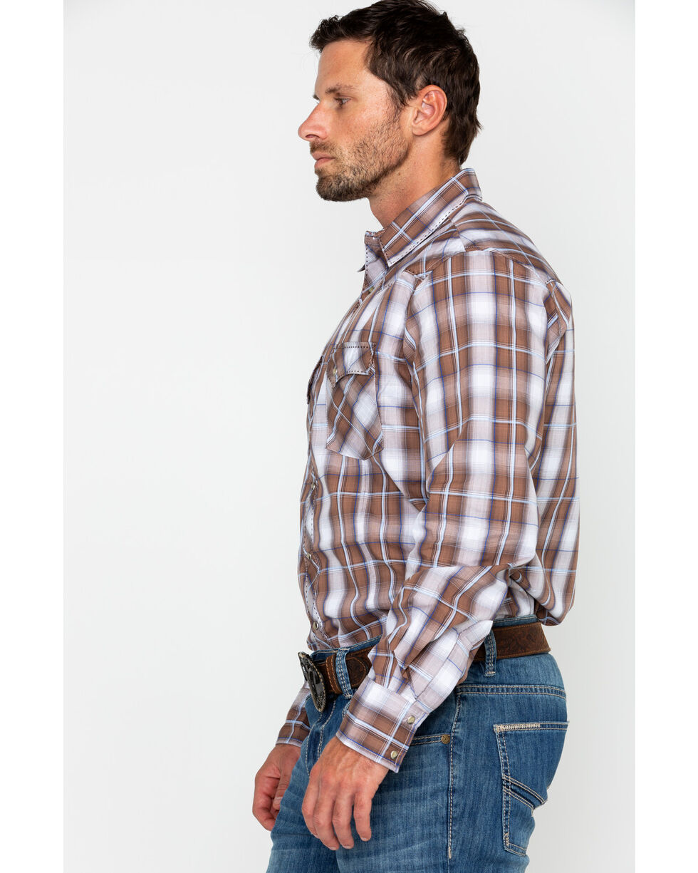 Wrangler Men's Brown Med Plaid Snap Long Sleeve Western Shirt, Brown/blue, hi-res