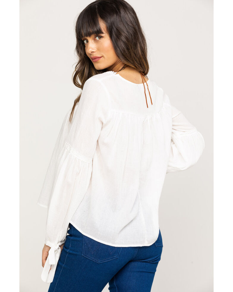 Red Label by Panhandle Women's Crinkle Macrame Long Sleeve Top  , Natural, hi-res
