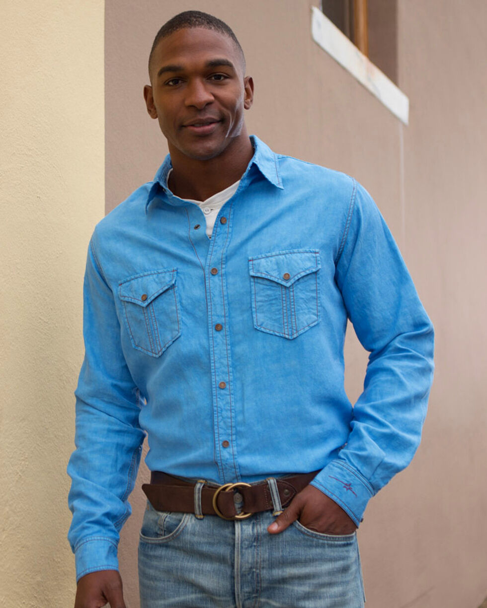 Ryan Michael Men's Split Rail Western Shirt , Blue, hi-res