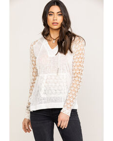 Panhandle Women's White Label Solid Lace Slub Knit Hoodie , Ivory, hi-res