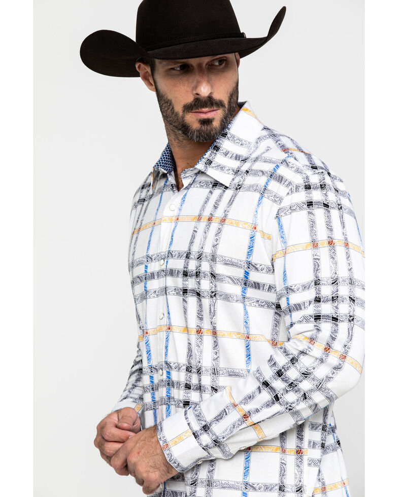 Scully Signature Soft Series Men's Paisley Plaid Long Sleeve Western Shirt , White, hi-res