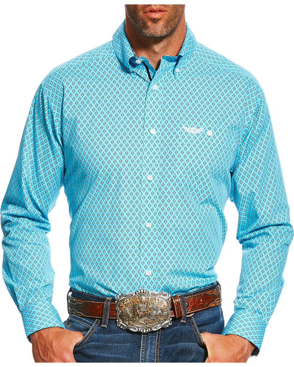 Ariat Men's Teal Limitless Print Long Sleeve Shirt , Teal, hi-res