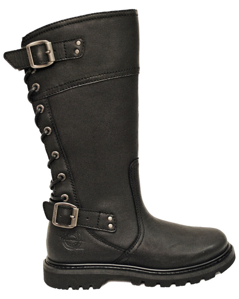 Milwaukee Motorcycle Clothing Co. Women's Dreamgirl Moto Boots - Round Toe, Black, hi-res