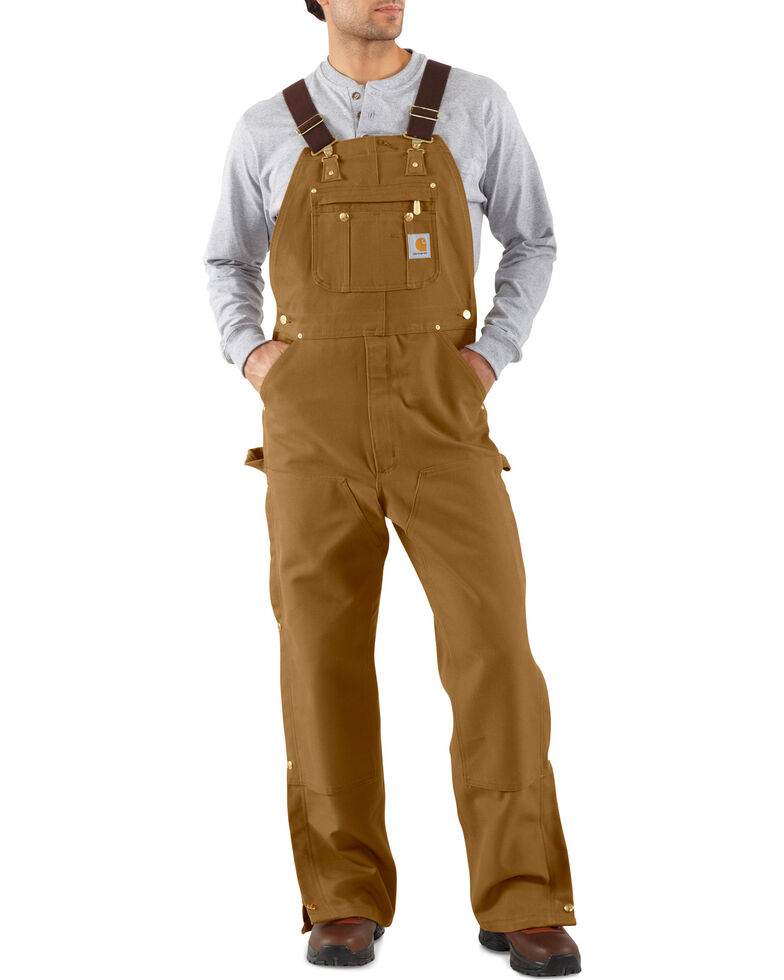 Carhartt Men's Duck Zip-To-Thigh Bib Overalls, Carhartt Brown, hi-res
