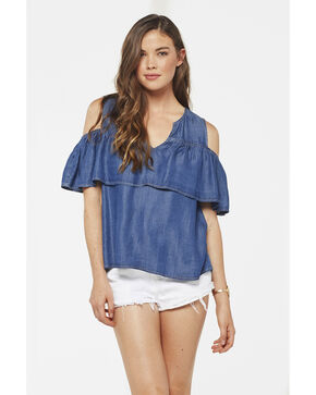Glam Women's Tencel Ruffle Top , Indigo, hi-res