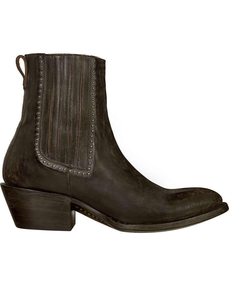 Lucchese Women's Adele Distressed Western Booties, Black, hi-res