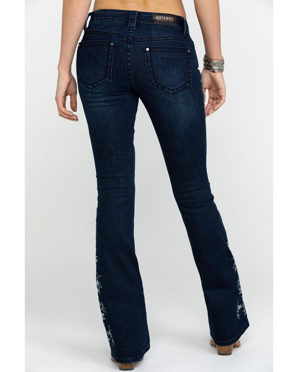 Shyanne Women's Floral Leg Insert Dark Slim Boot Jeans , Blue, hi-res