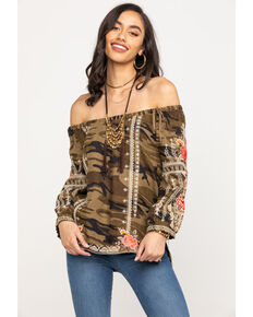 Johnny Was Women's Camo Paola Peasant Tie Blouse, Multi, hi-res