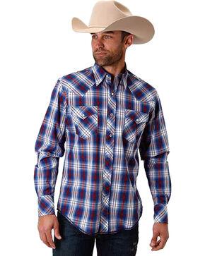 Roper Men's Blue Patriot Plaid Western Shirt , Blue, hi-res