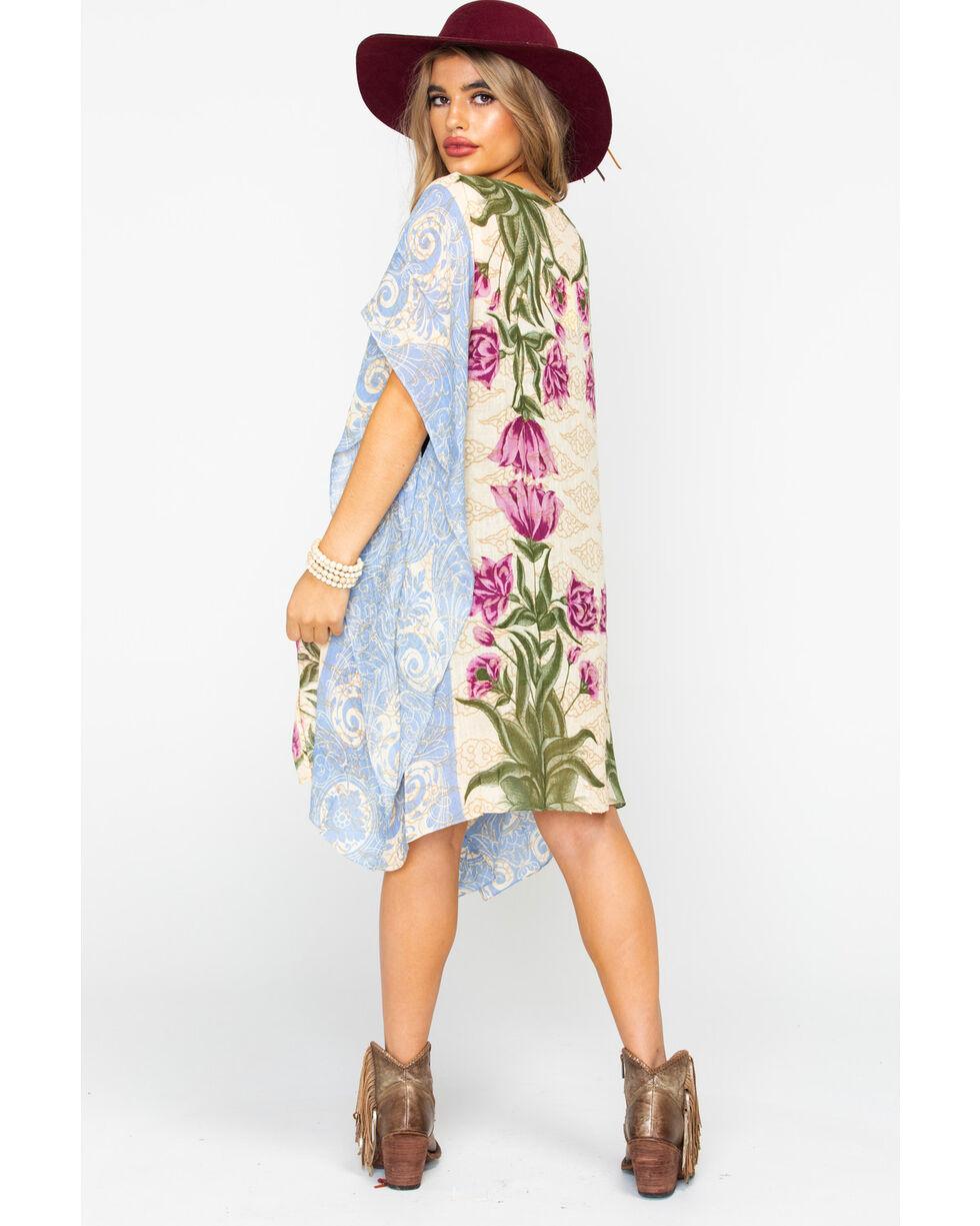 Aratta Women's Floral Print Open Front Pearl Kimono, Beige/khaki, hi-res