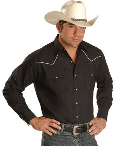 Ely Cattleman Men's Long Sleeve Solid Contrast Western Shirt, Black, hi-res