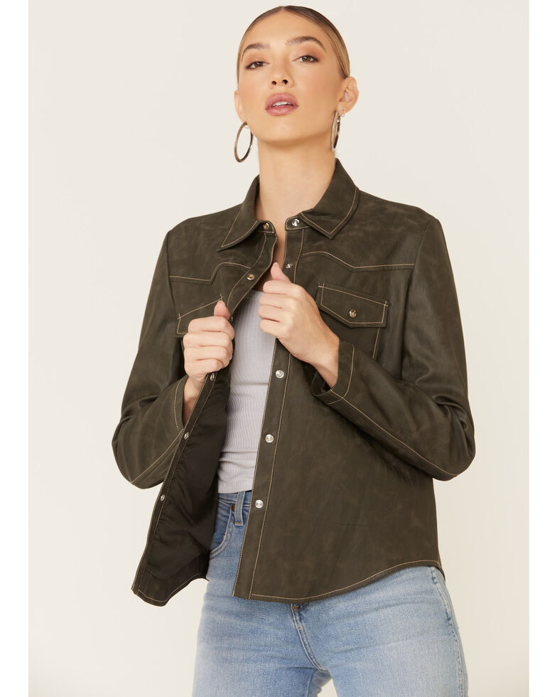 Velvet Heart Women's Olive Faux Leather Shirt Jacket , Olive, hi-res