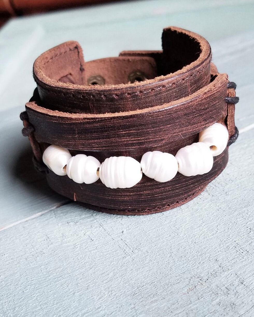 Jewelry Junkie Women's Freshwater Pearl Vintage Leather Cuff Bracelet, Brown, hi-res