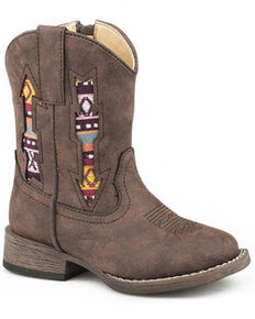 Roper Youth Boys' Aztec Arrow Western Boots - Square Toe, Brown, hi-res