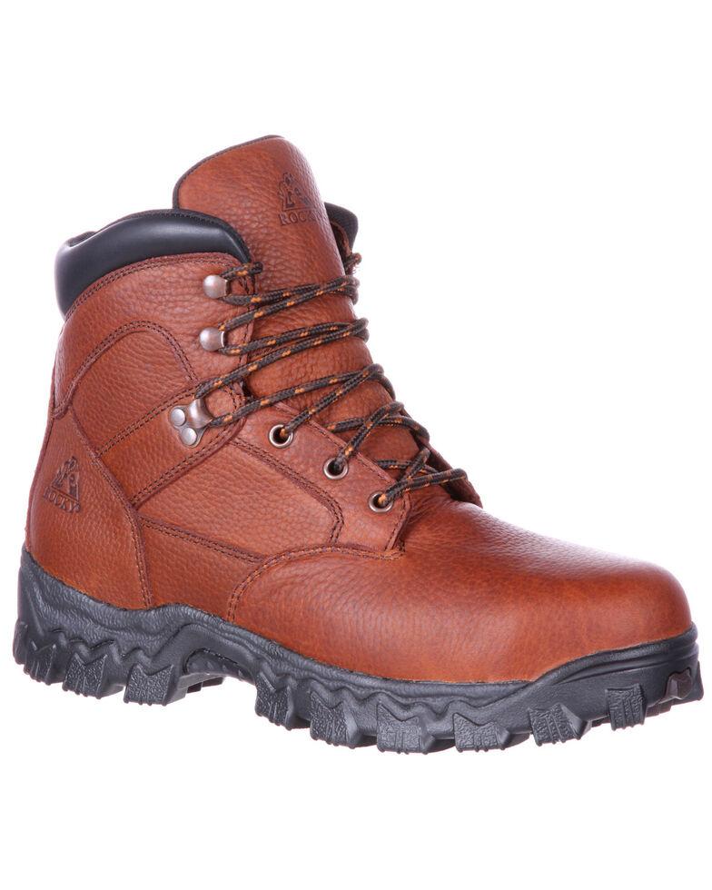 Rocky Men's Alpha Force Fully Puncture-Resistant Waterproof Work Boots - Steel Toe , Brown, hi-res