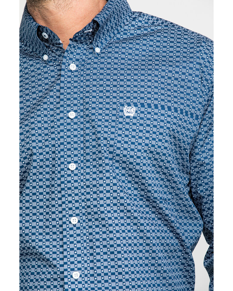 Cinch Men's Mini Square Geo Print Long Sleeve Western Shirt , Blue, hi-res